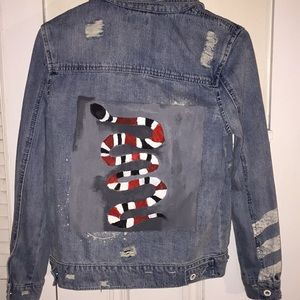 Hand painted Gucci snake jacket